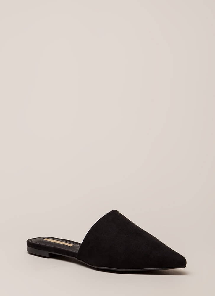 Slip Me A Message Pointy Mule Flats BLACK