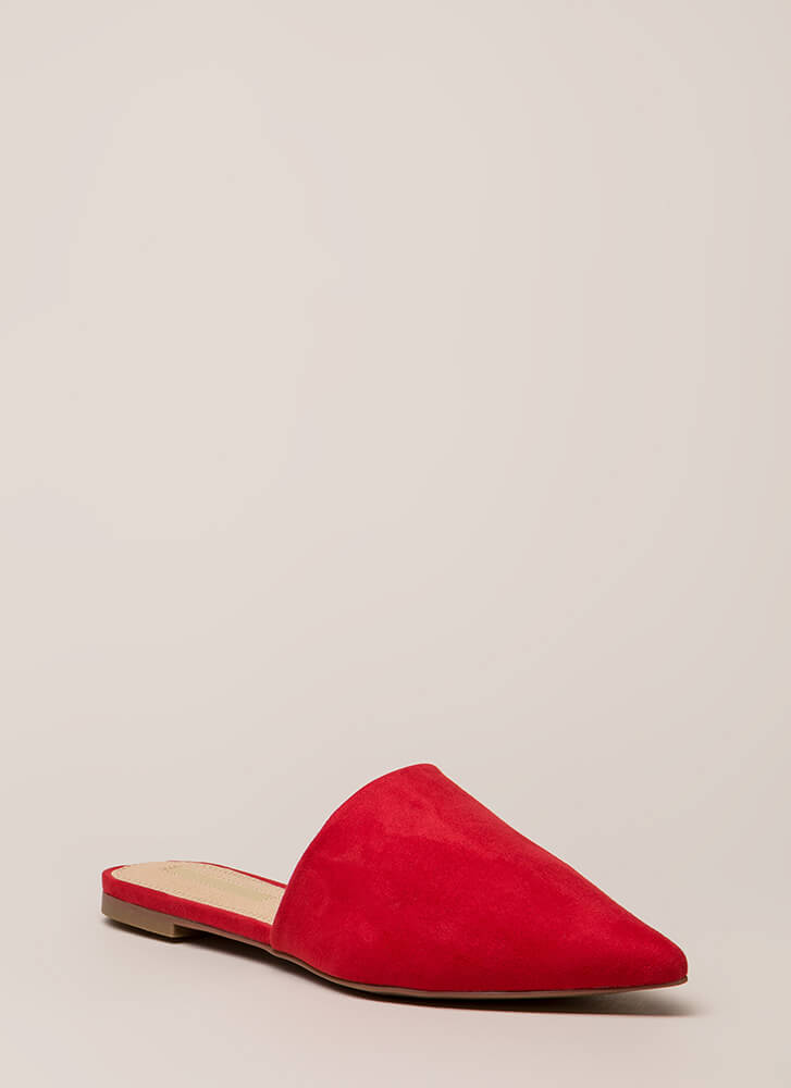 Slip Me A Message Pointy Mule Flats RED