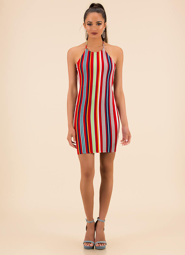 Gimme Stripes Strappy Back Halter Dress REDMULTI