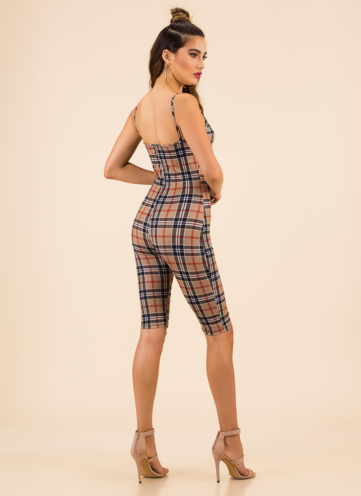 Now We Got Plaid Blood Cropped Jumpsuit KHAKI