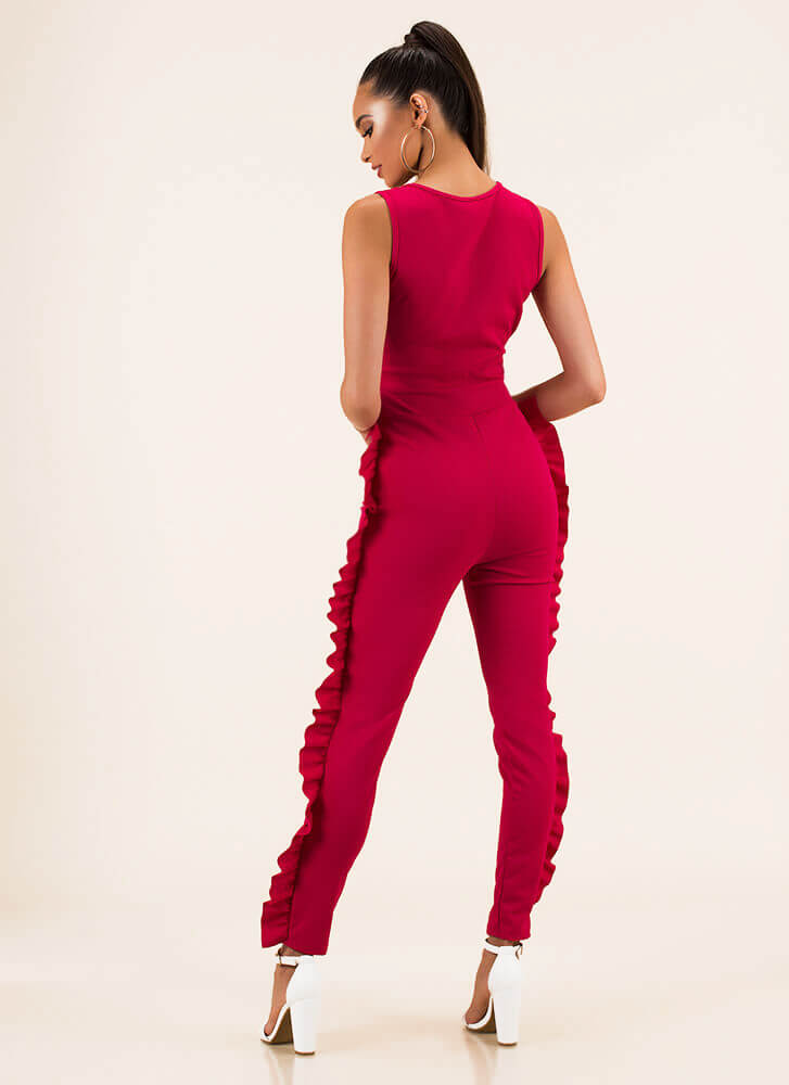 Frilling Moment Ruffled Jumpsuit PINK