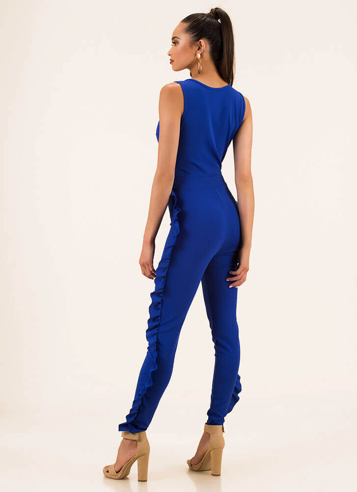 Frilling Moment Ruffled Jumpsuit ROYAL