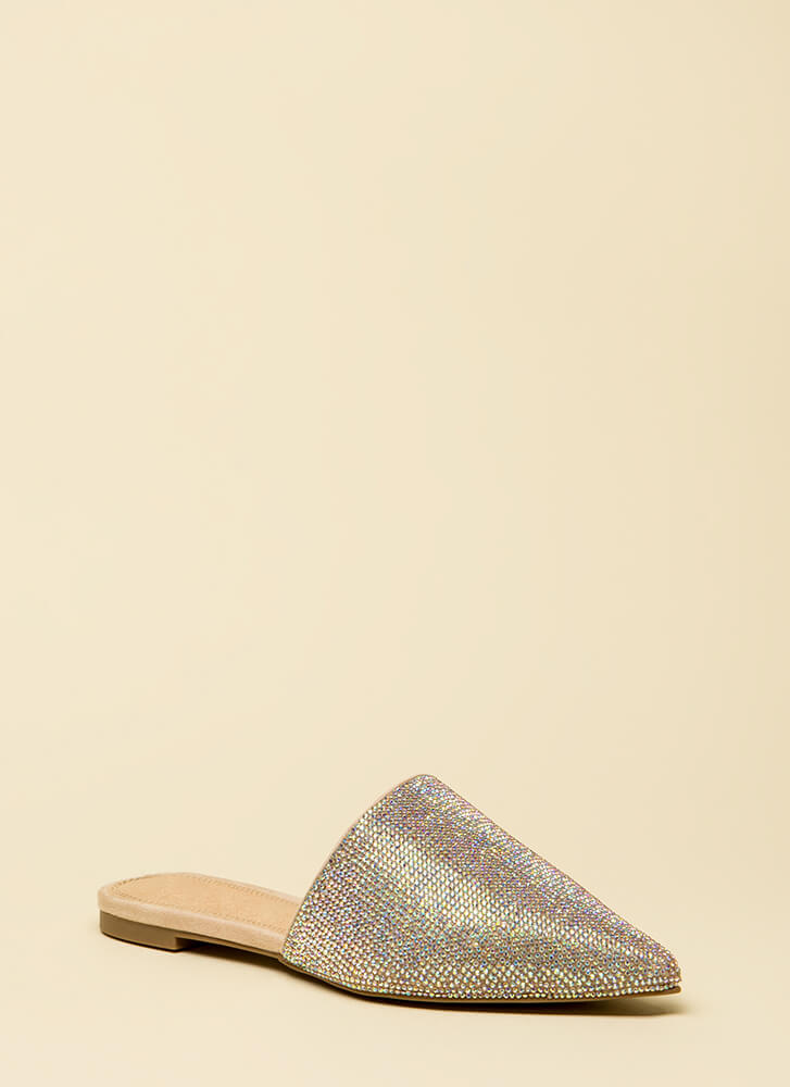 Slip Me A Message Pointy Jeweled Flats NUDE