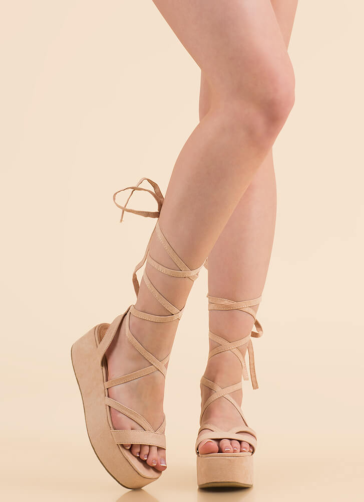 Slim Thick Lace-Up Platform Sandals NUDE