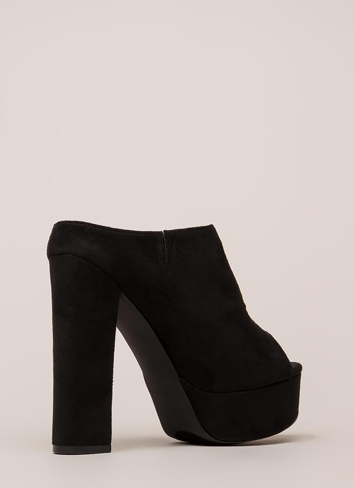 Cut It Chunky Peep-Toe Platform Booties BLACK