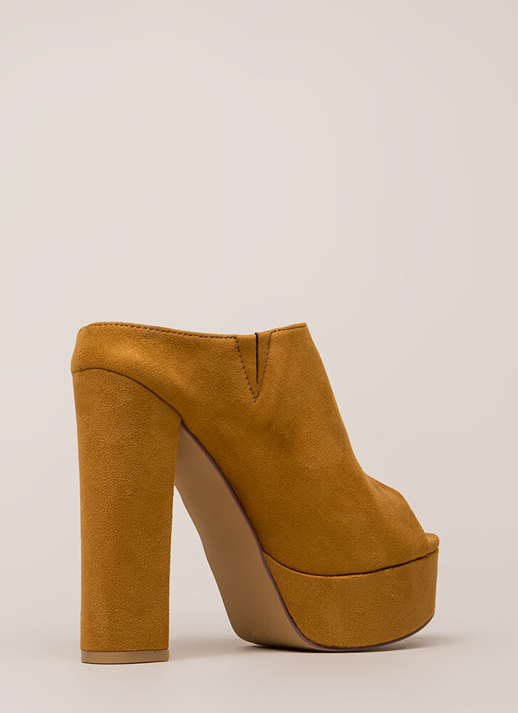 Cut It Chunky Peep-Toe Platform Booties TAN