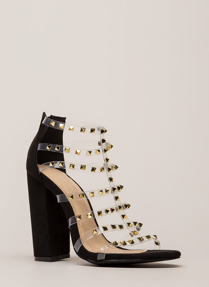 Clearly Sexy Studded Caged Heels by Go Jane