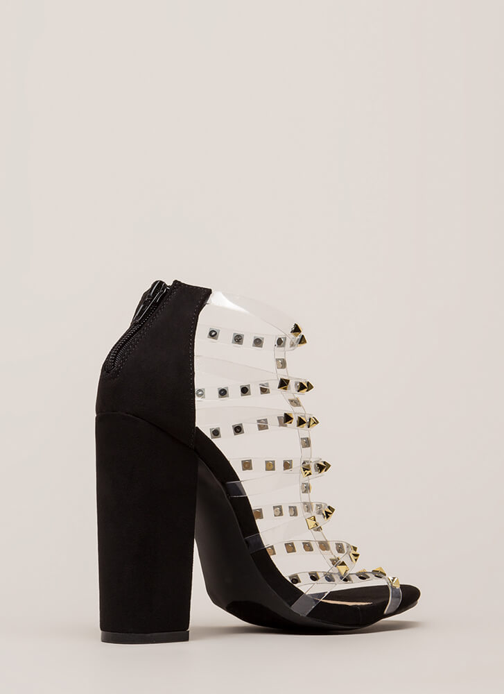 Clearly Sexy Studded Caged Heels BLACK