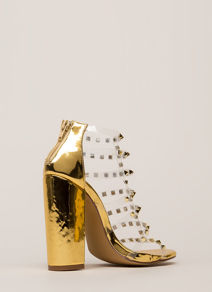 Clearly Sexy Studded Caged Heels GOLD