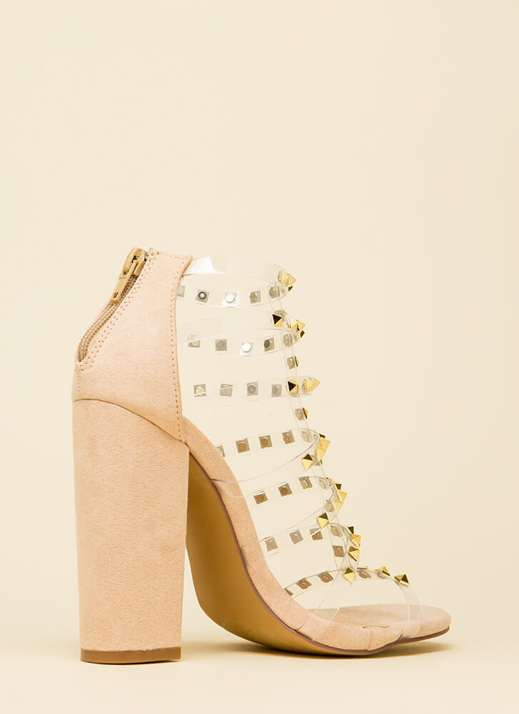 Clearly Sexy Studded Caged Heels NUDE