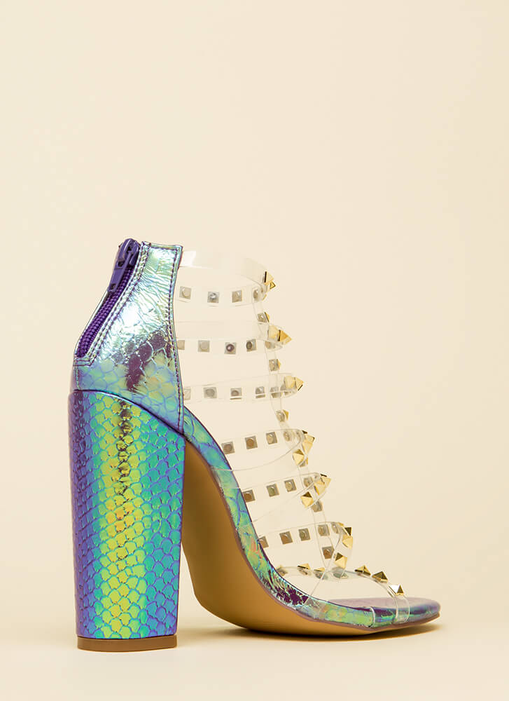 Clearly Sexy Studded Holographic Heels PURPLE