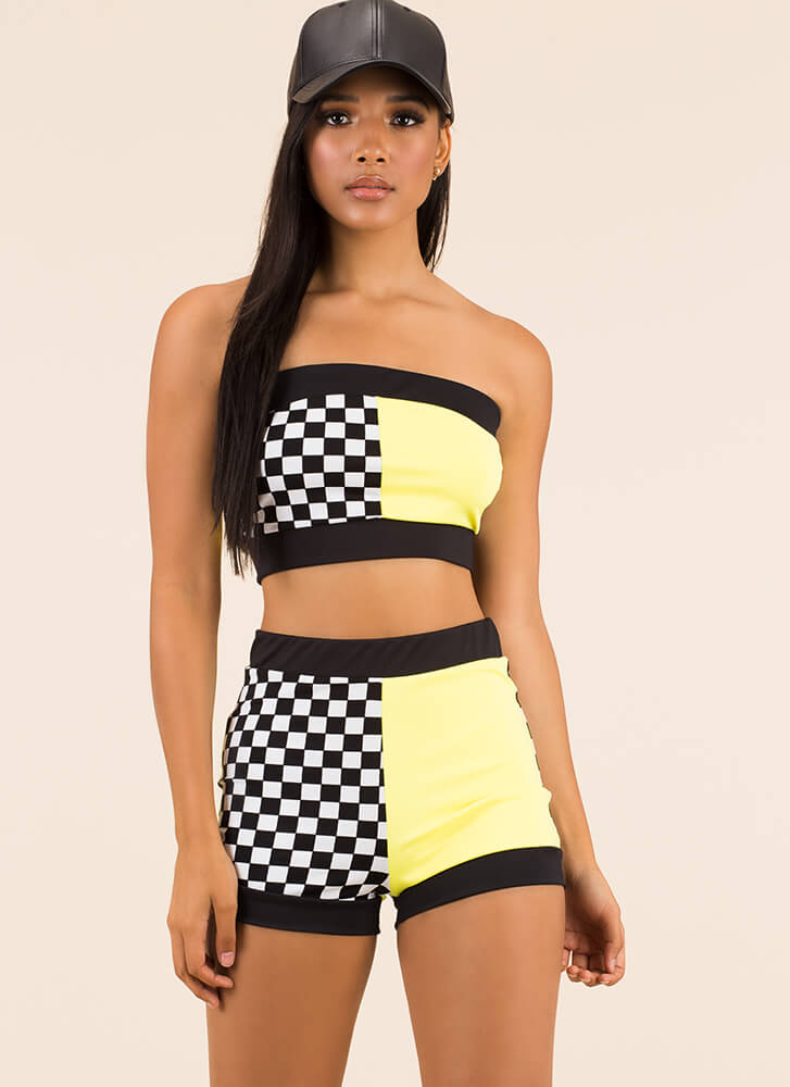 Check Out Colorblock Top And Shorts Set YELLOW