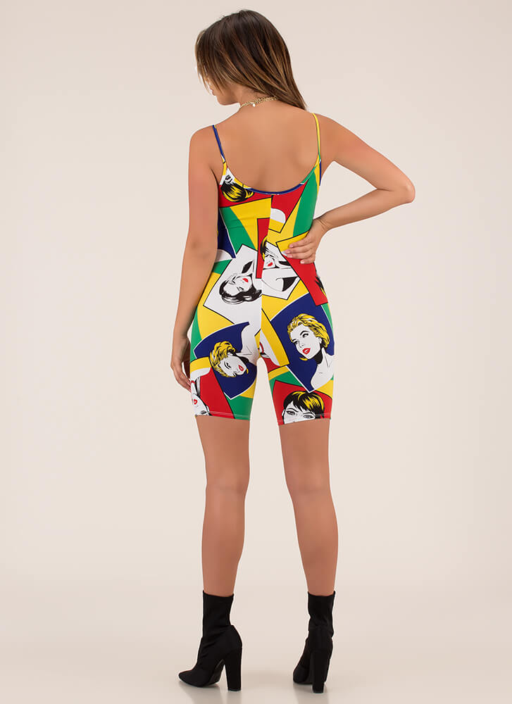 Portrait Of Me Cartoon Print Romper MULTI