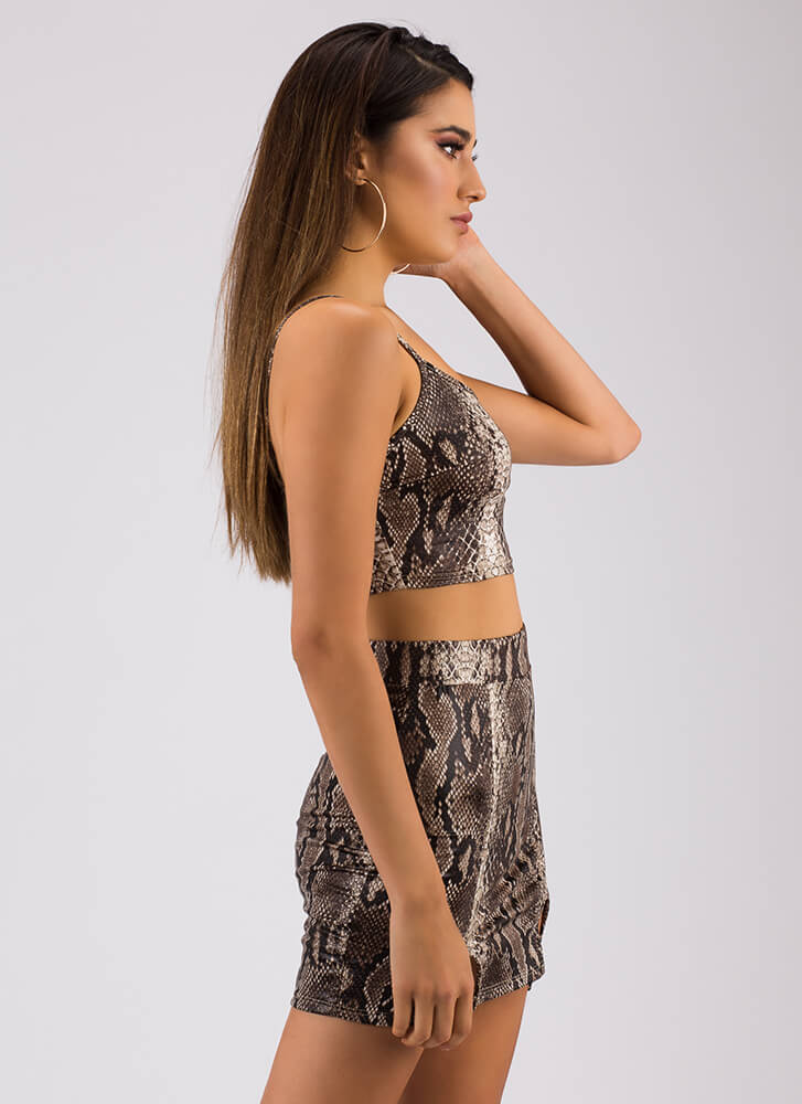 Let's Prey Snake Print Top And Skirt Set GREY