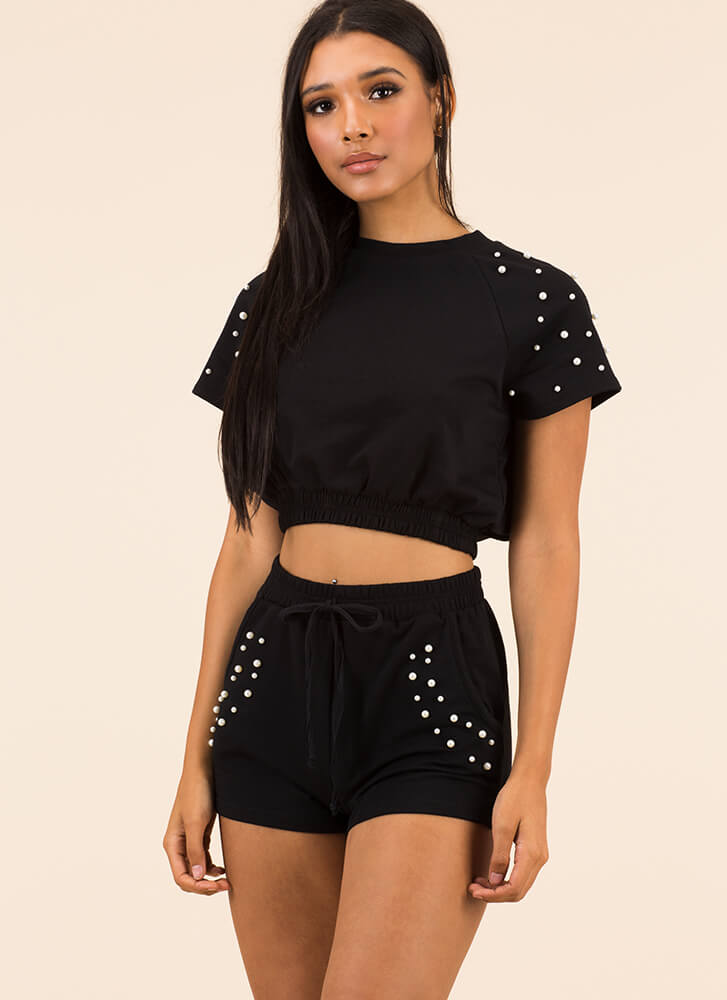Pearls Of Wisdom Top And Shorts Set BLACK
