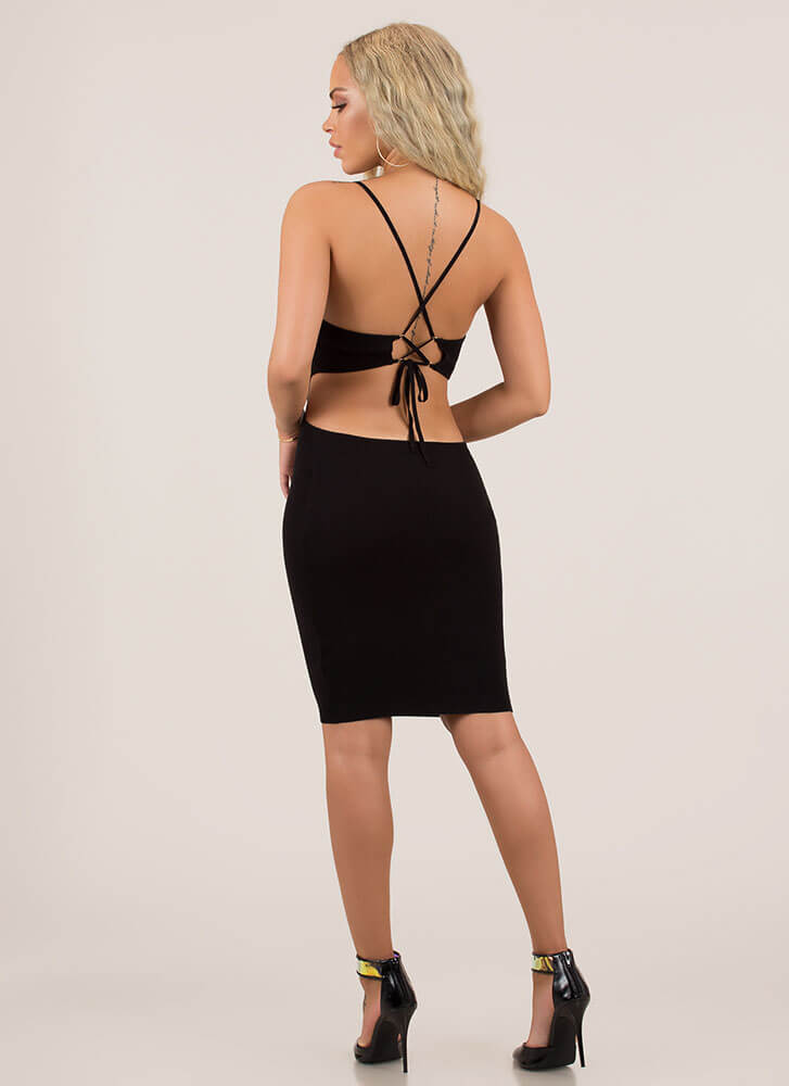 Curvy Cut-Outs Lace-Back Midi Dress BLACK