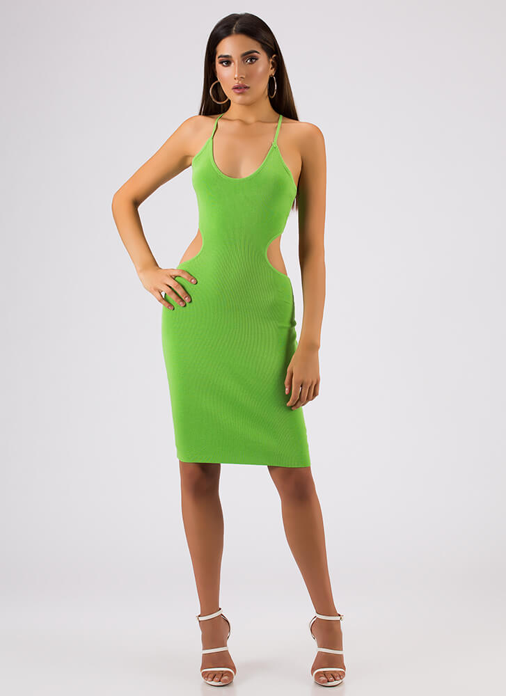 Curvy Cut-Outs Lace-Back Midi Dress LIMEGREEN