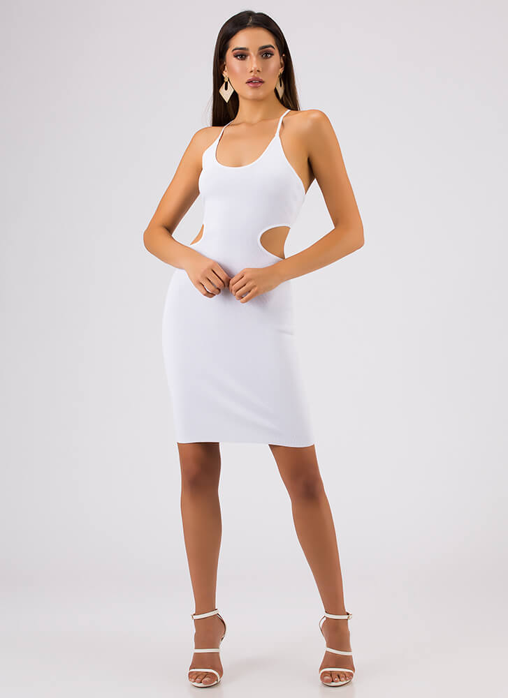 Curvy Cut-Outs Lace-Back Midi Dress WHITE