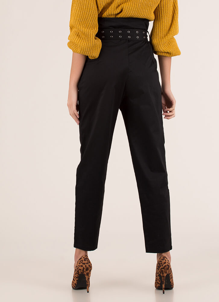Belt It Out Paper-Bag Waist Trousers BLACK