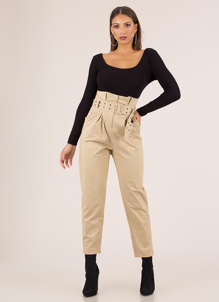 Belt It Out Paper-Bag Waist Trousers KHAKI