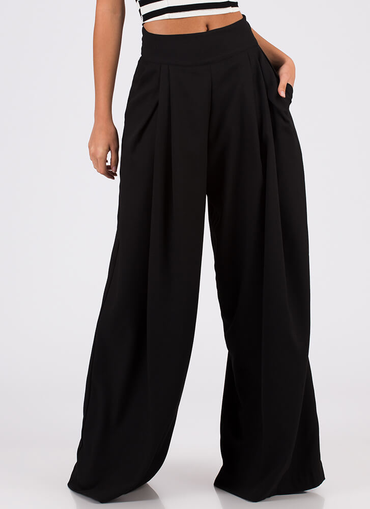 Eyes Wide Open Pleated Palazzo Pants BLACK