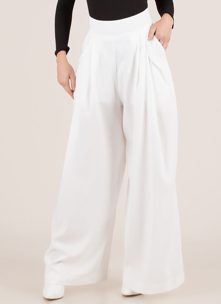 Eyes Wide Open Pleated Palazzo Pants WHITE