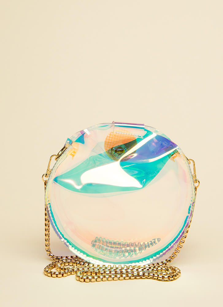 Round Of Applause Clear PVC Clutch MULTI