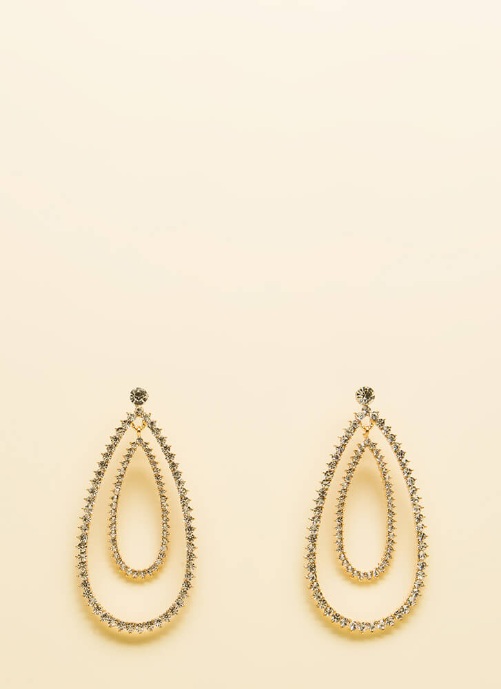 Jaw Drops Faux Diamond Earrings GOLD