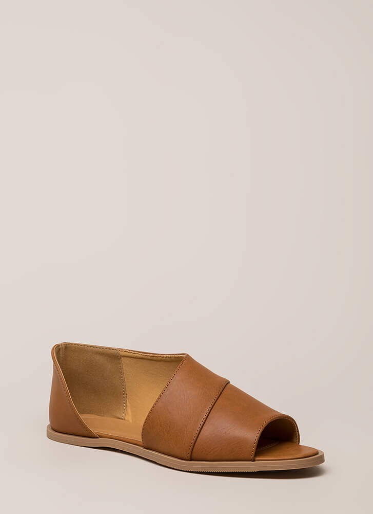 By My Side Asymmetrical Peep-Toe Sandals COGNAC