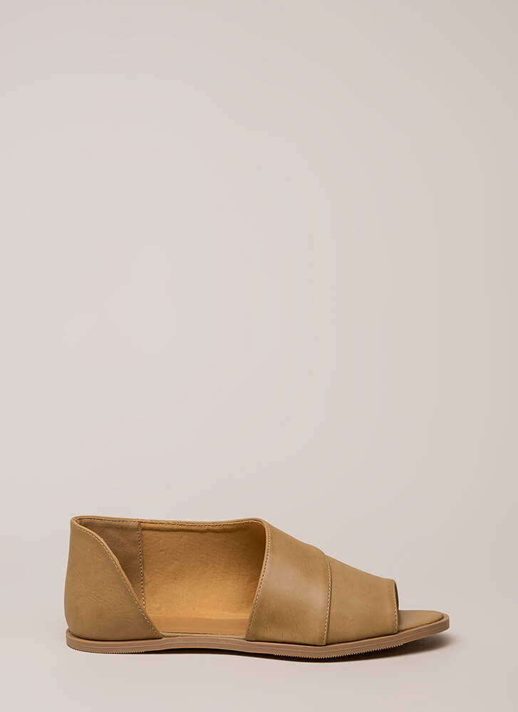 By My Side Asymmetrical Peep-Toe Sandals TAUPE