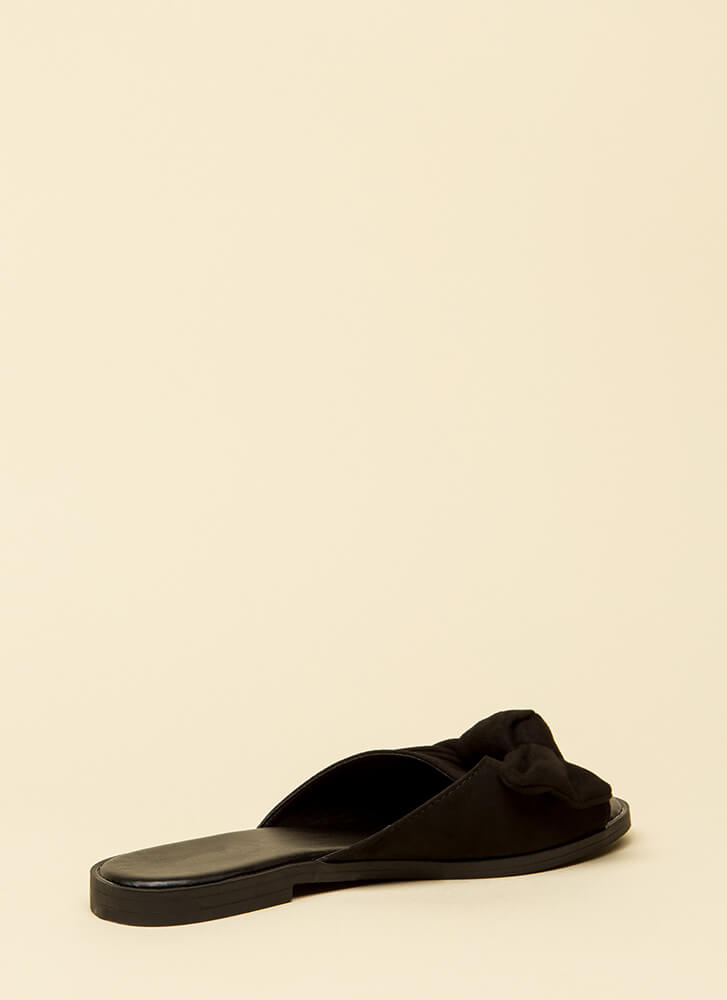 My New Bow Faux Suede Slide Sandals BLACK