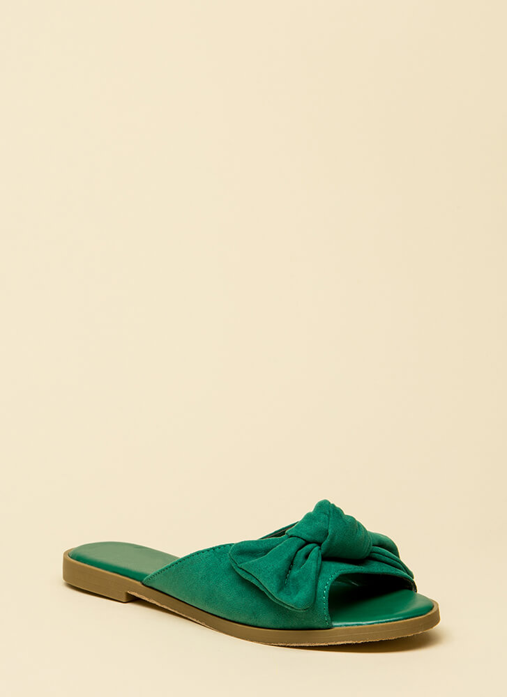 My New Bow Faux Suede Slide Sandals GREEN