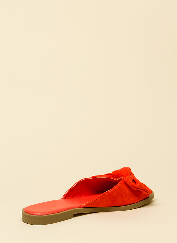 My New Bow Faux Suede Slide Sandals ORANGE