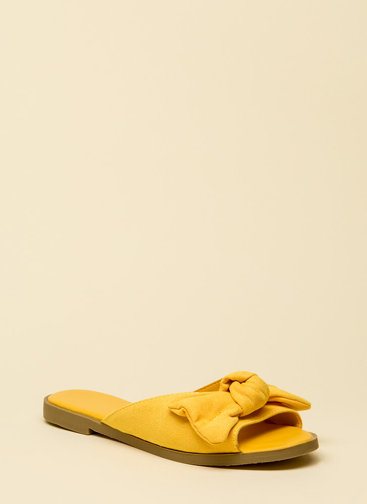 My New Bow Faux Suede Slide Sandals YELLOW