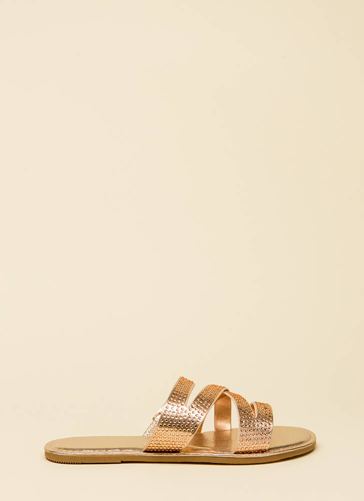 What A Jewel Strappy Slide Sandals ROSEGOLD (You Saved $13)