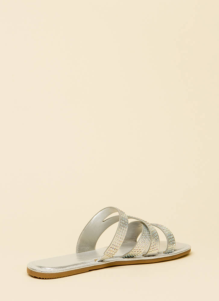 What A Jewel Strappy Slide Sandals SILVER (You Saved $13)