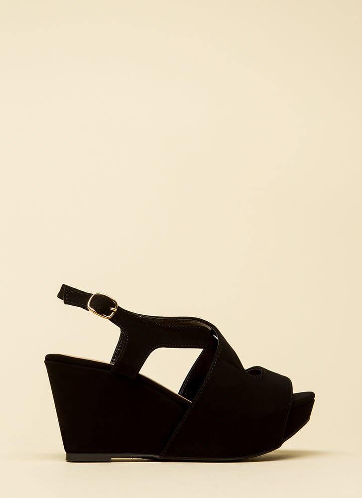 Easy Day Cut-Out Peep-Toe Wedges BLACK