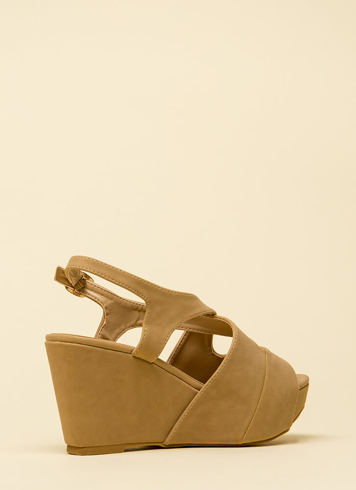 Easy Day Cut-Out Peep-Toe Wedges NATURAL