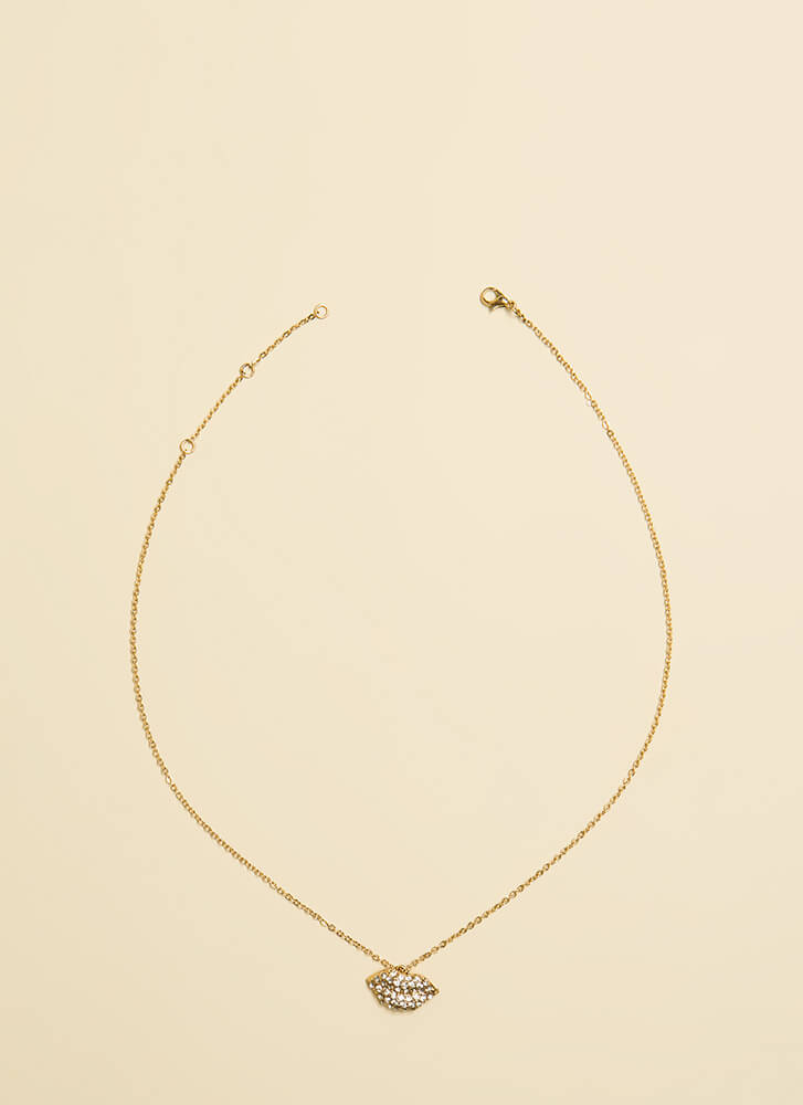 Give Me Lip Jeweled Charm Necklace GOLD