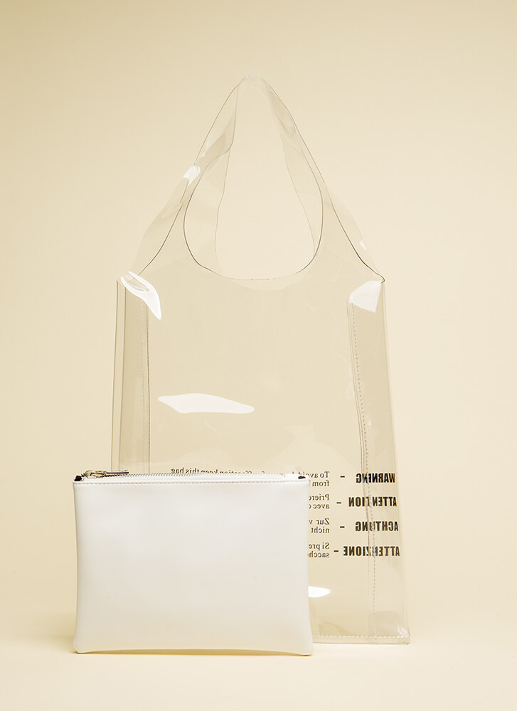 Warning Clear Two-Piece Tote Bag CLEAR