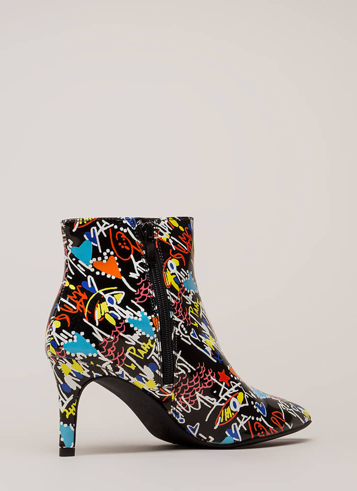 Draw Attention Short Pointy Booties BLACKMULTI