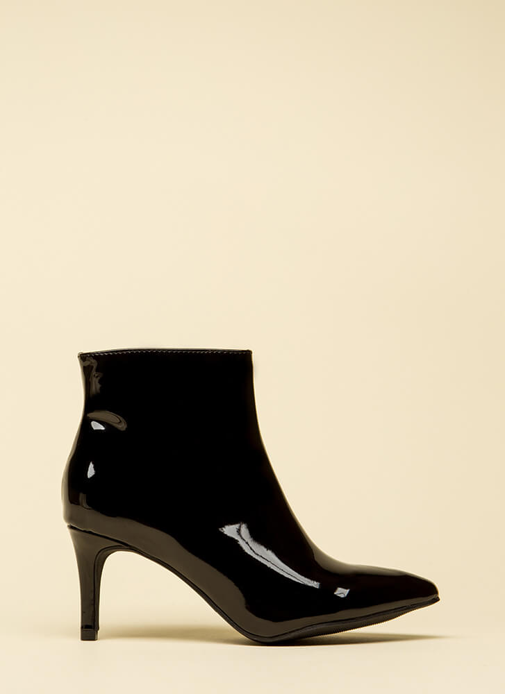 This Point Forward Faux Patent Booties BLACK