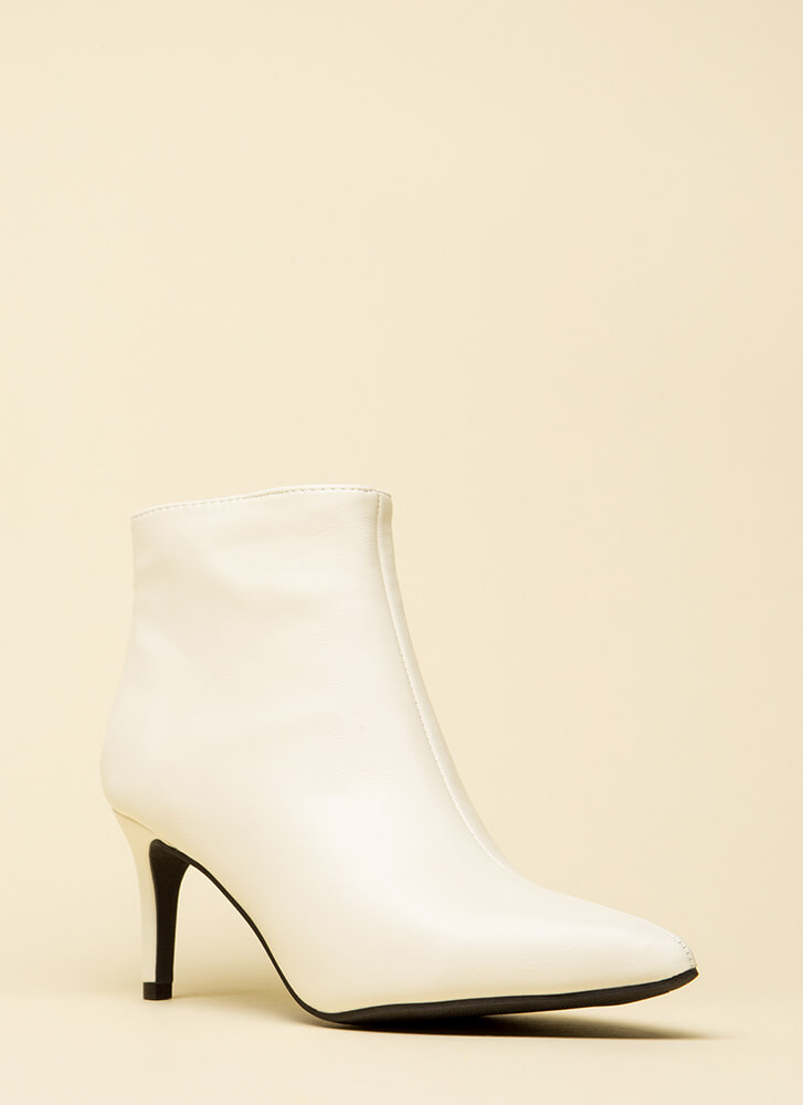 This Point Forward Faux Leather Booties WHITE