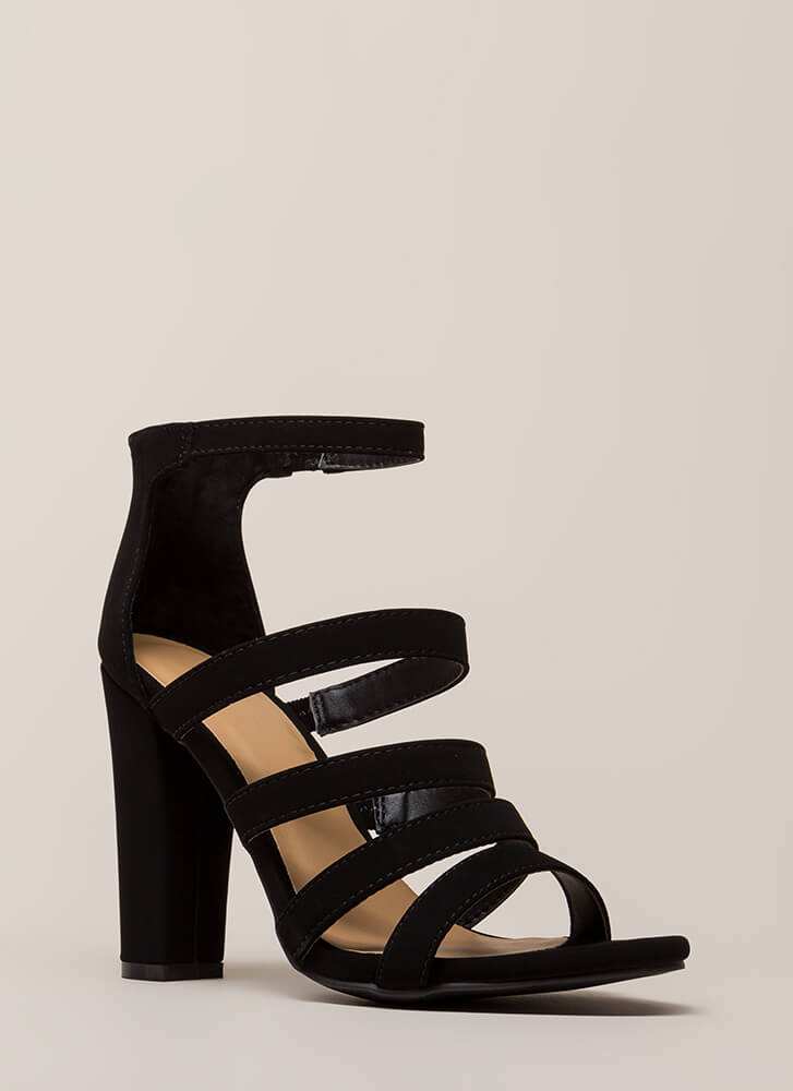 Five Stars Strappy Faux Nubuck Heels BLACK
