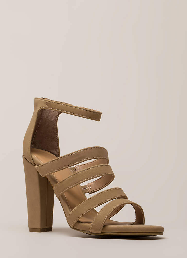 Five Stars Strappy Faux Nubuck Heels NATURAL