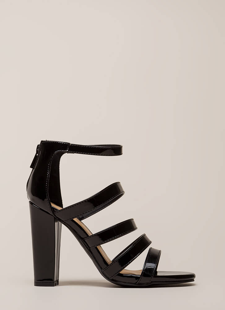 Five Stars Strappy Faux Patent Heels BLACK