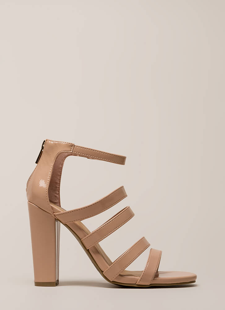 Five Stars Strappy Faux Patent Heels NUDE