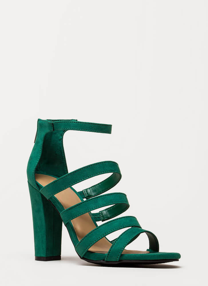 Five Stars Strappy Faux Suede Heels GREEN