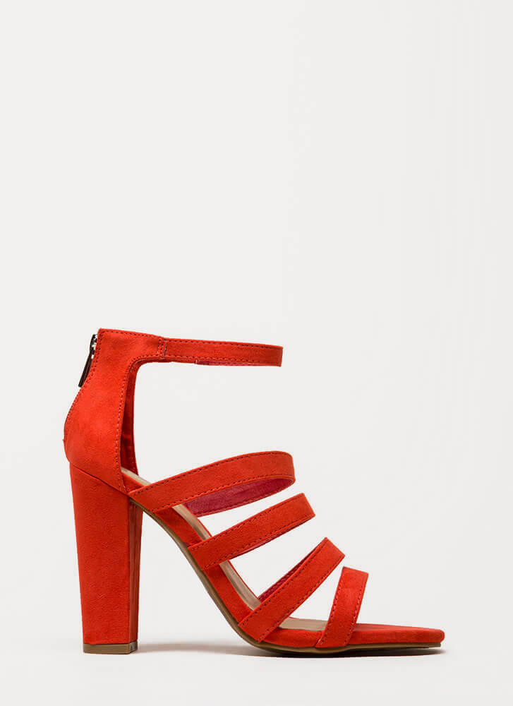 Five Stars Strappy Faux Suede Heels ORANGE