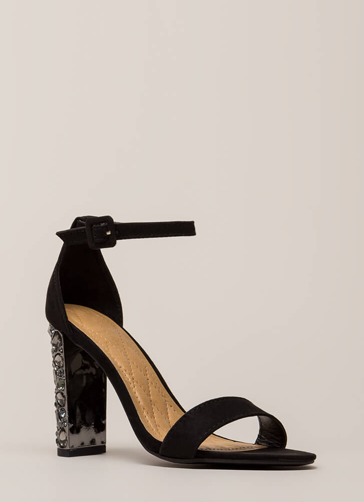 Treasure Trove Chunky Jeweled Heels BLACK